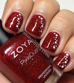 maroon-red sparkle with white stars | Rin's Nail Files: Zoya Pixie-Dust Collection