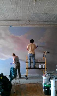 Wallpaper Mural Tricks: How to Choose and Install Ceiling Murals, Wall Murals, Wall Art, Mural Painting, Mural Art, Paintings, Cloud Ceiling, Nyc Studio, Grisaille