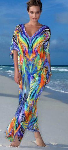 colorful maxi kaftan by Lulu Fam