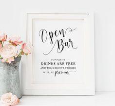 Wedding open Bar Sign, Printable wedding Alcohol signs, wedding Drinks Signs, wedding bar decorations, printable Wedding reception signs