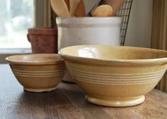 Love the yellow ware bowls with the wood & dishes