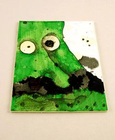 Green Monster with Mustache Original ACEO drawing by Aaronbutcher, $5.00