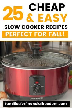 Your family will love these 25 easy fall slow cooker recipes! Simple and cheap slow cooker recipes perfect for fall for families on a budget! You will love these cheap meals you can make with your Crockpot/slow cooker! Cheap meals to feed your family! Cheap and easy fall Crockpot recipes! #crockpot #crockpotrecipes #slowcooker #save #dinnerideas #dinnerrecipes #money #budget #frugal #budgeting #recipes #cheapmeals #chickenfoodrecipes #savemon Cheap Easy Meals, Inexpensive Meals, Cheap Dinners, Fall Crockpot Recipes, Slow Cooker Recipes, Crockpot Meals, Eat On A Budget, Money Budget, Easy Family Meals