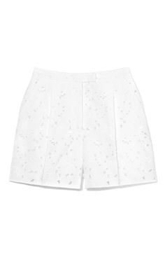 From Summer Whites: Four Looks for the Season  Valentino pique ricamato bouquet pleated short, $1,690