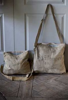 Rustic Reclaimed / Recycled Canvas Bags by Vagabond Vintage via mothology
