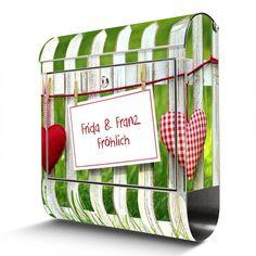 Briefkasten mit Wunschtext   banjado Manufaktur Magazine Rack, Diaper Bag, Storage, Bags, Dresden, Decor, Garden Fencing, Steel, Gifts