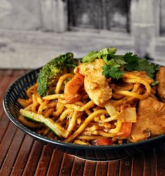 Chicken & Vegetables Satay Noodles  http://www.fussfreecooking.com/meat-recipes/chicken-vegetables-satay-noodles/