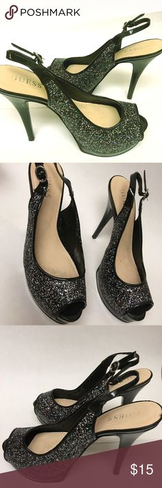 Guess Sparkle Slingback Platform Heels Guess Sparkle Slingback Platform Heels Size 7 M  Worn several times signs of use . There are small nicks scuffs when looking closely to heels see last photo Guess Shoes