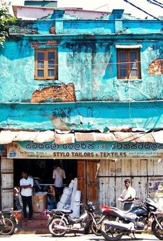 Blue building near Galle Fort and Fish Market. This blue catches the eye of many photographers. Sri Lanka