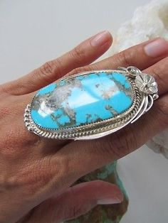 """Giant 2.5"""" long Vintage Navajo Turquoise Sterling Silver Ring"""