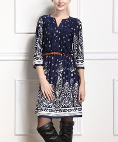 Look at this Reborn Collection Navy Pin Tuck Three-Quarter Sleeve Dress on #zulily today!