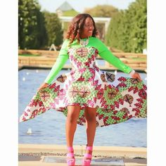 High low dress perfect for graduation season! Made out of African wax printed fabric - features high low hem with lots of flair! Custom order - #AfricanFashion