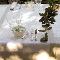 Chemin de table Venezia Ivoire Ivoire 100% coton - Chemins de table - Petits carrés - La Table - Le Jacquard Français