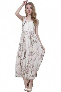 LUCLUC White Floral Printed Sleeveless Maxi Dress