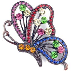 Silvertone Multi-colored Crystal Flying Butterfly Brooch (€12) ❤ liked on Polyvore featuring jewelry, brooches, multi, silvertone jewelry, crystal brooch, multi color jewelry, clear jewelry and butterfly brooch