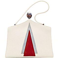 Hermes Vintage White Red and Blue Mod Handbag