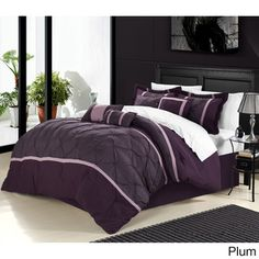 Chic Home Vermont 12 Piece Comforter Set Pinch Pleat Embroidered Design Bed in a Bag Plum Plum Comforter, Luxury Comforter Sets, Grey Comforter Sets, Bedding Sets, Chic Bedding, Purple Bedspread, Bed In A Bag, Modern Colors, Bed Spreads