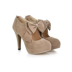Work Suede Solid Color and Bows Design Women s Spring Pumps (€25) ❤ liked on Polyvore featuring shoes, pumps, heels, suede shoes, suede leather shoes, heel pump and suede pumps