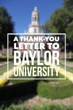 A thank-you letter to Baylor University