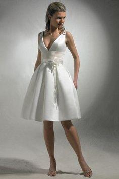 Robe de mariée simple moderne ruché en satin au niveau de genou