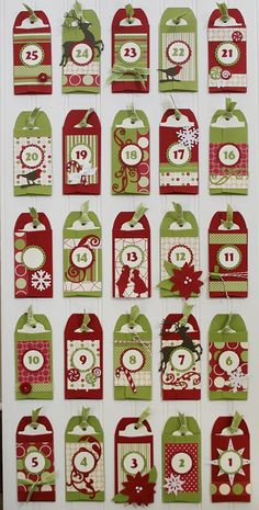 """Christmas advent calendar with service projects to do on each """"tag"""". Too cute."""