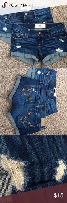 ❌SOLD❌ Denim Hollister Shorts 2 pairs of EUC super cute summer time shorts with the perfect amount of distressing. (Can make separate listing if you wish to only purchase one) $15 for both! Hollister Shorts Jean Shorts