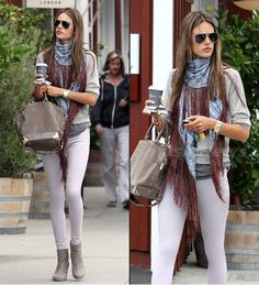 Alessandra Ambrosio looks as stylish as ever wearing James Jeans Twiggy in Orchid. Click to steal her style!