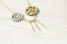 情人節禮物 / 幾何風 / 法式條紋口吹玻璃黃銅項鍊 短鏈 長鏈 鎖骨鍊 - 齒輪機械世界
