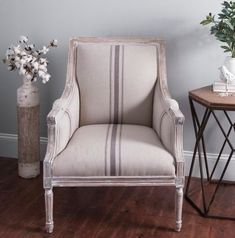 Do you love Farmhouse Accent Chairs that make a statement? These gorgeous chairs will be the focal point of your living room. They are stunning. Pink tufted accent chair - 21 Gorgeous Feminine Home Decor Ideas Furniture, Accent Chairs, Farmhouse Chairs, Accent Chairs For Living Room, Home, Stripe Accent Chair, Farmhouse Furniture, White Accent Chair, Family Room Accent Chair