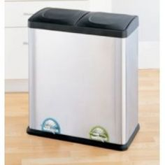 Create your own recycling program at home with the Organize It All Step-On Stainless Steel Recycling Bin. Designed to make recycling easy. Trash Disposal, Trash And Recycling Bin, Recycling Center, Thing 1, Garbage Can, Trash Bag, Brushed Stainless Steel, Joss And Main, Storage Organization