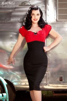 Fitted Wiggle Dress for Casual Days with Ruched Peasant Top and Slimming Pencil Skirt in Red | Pinup Girl Clothing