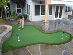 Buy putting green turf from Purchase Green. Quality artificial putting greens, golf putting greens and accessories. Home Putting Green, Outdoor Putting Green, Artificial Putting Green, Artificial Turf, Backyard Games, Backyard Patio, Backyard Landscaping, Backyard Office, Landscaping Ideas