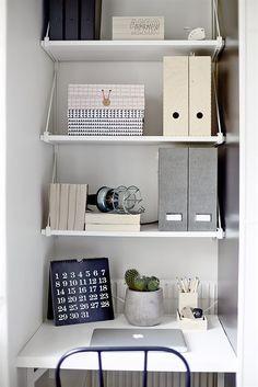 New Ideas Ikea Storage Desk Shelves Small Office Storage, Office Shelf, Mini Office, Small Space Storage, Office Table, Workspace Design, Home Office Design, Home Office Decor, Interior Design Living Room