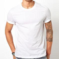 Men 100% plain white organic cotton t-shirt
