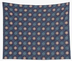 Christmas pattern with snowflakes on dark blue background • Also buy this artwork on wall prints, apparel, phone cases, and more.