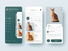 🐈 Pets Adoption App 🐶 by Marina Logunova | Dribbble | Dribbble Mobile Ui Design, App Ui Design, Design Design, Design Layouts, Flat Design, Android App Design, Dashboard Design, Interface Web, Interface Design