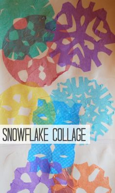snowflake collage activity for kids. Tissue paper snowflakes, Modge-podge to cardstock. (use watered down glue as substitue)