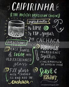 Display the recipe for a Caipirinha (also known as the mojitas Brazilian cousin) in your kitchen, dining room or bar area. It serves as a lovely