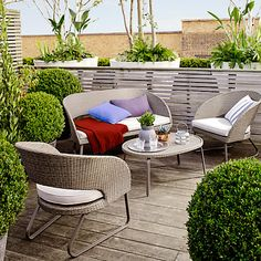 Buy John Lewis Corsica Garden Sofa, Coffee Table and Lounging Armchair Pair from our Garden Furniture Sets range at John Lewis & Partners. Home Bar Furniture, Garden Furniture Sets, Buy Furniture Online, Outdoor Furniture Sets, Furniture Design, Garden Coffee Table, Garden Sofa, Garden Seating, Garden Chairs