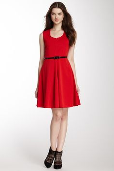 Belted Swing Dress - sweet little red dress, perfect for the holidays!