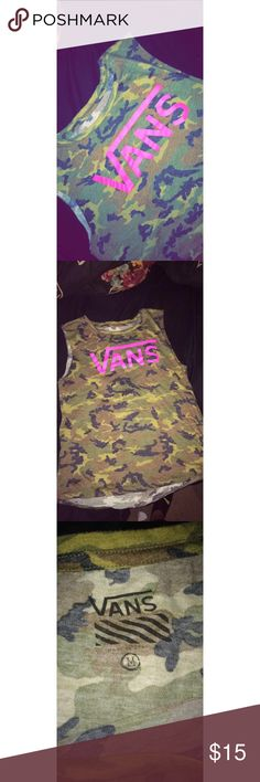 VANS Camo muscle tee Bought this like 3 years ago at the vans warped tour, and seriously have only worn it once since then. So I'm finally just gonna let it go lol. Flawless condition, super soft and cute. Would be great for working out or throwing a cardigan over it with some jeans and vans for the fall. Vans Tops Muscle Tees