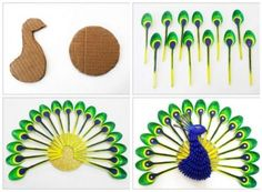 Diy Home Decor: How To Make Beautiful Peacock With Plastic Spoon
