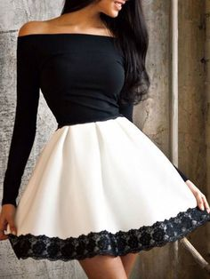 Monochrome Off Shoulder Lace Trim Long Sleeve A-line Dress | Choies