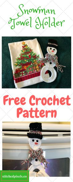 Use this free crochet pattern to make your own Snowman Towel Holder for someone special, or to help decorate your home for the holidays.