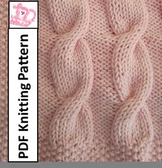 Baby Blanket Knitting Pattern, Baby cable throw/afghan/blanket 28 x 36 - PDF Knitting Pattern Cable Knitting Patterns, Knitting Blogs, Baby Knitting, Crochet Patterns, Free Knitting, Baby Patterns, Blanket Patterns, Afghan Blanket, How To Start Knitting