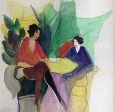 """Watercolor """"Greenhouse Watercolor 1992"""" by Itzchak Tarkay"""