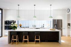 Kitchen Island Bench, Kitchen Benches, Kitchen Reno, U Shaped Kitchen Island, U Shape Kitchen, Kitchen Ideas, Modern Kitchen Island, Kitchen Stools, Küchen Design