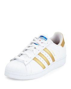 adidas Superstar Original Fashion Sneaker, White/Gold