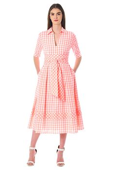 Our gingham check cotton dress is cinched with a wide obi style sash tie belt and flared with inverted pleats and banded hem at the full skirt. Vintage Style Dresses, Casual Dresses, Fashion Dresses, Women's Fashion, Wrap Dresses, Work Dresses For Women, Clothes For Women, Striped Fabrics, Custom Dresses