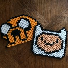 Jake and Finn Adventure Time perler beads by nerdglazeofficial